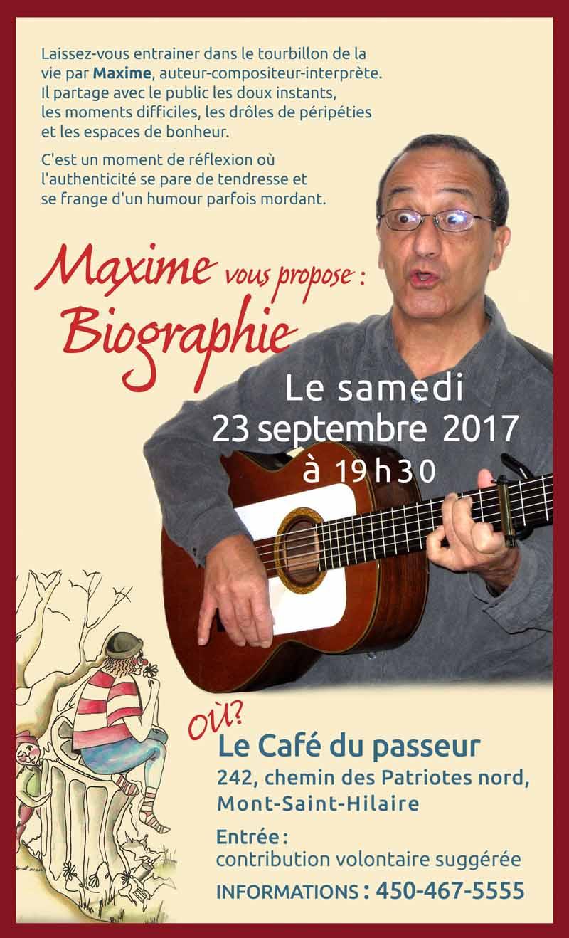 Le Café du passeur présentera, le 23 septembre prochain, le spectacle