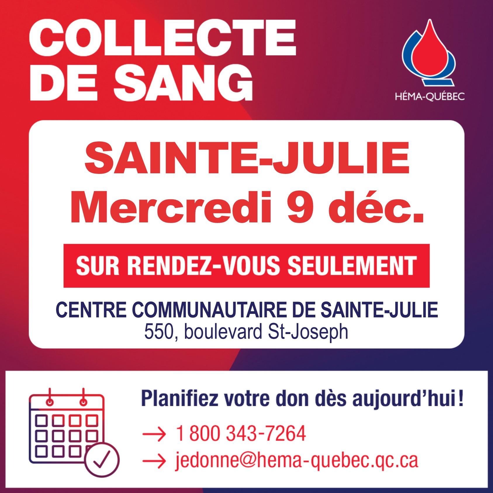 En décembre : Donner du sang. Donnez la vie